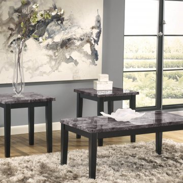 Maysville Black Marble Coffee and End Table Set by Ashley