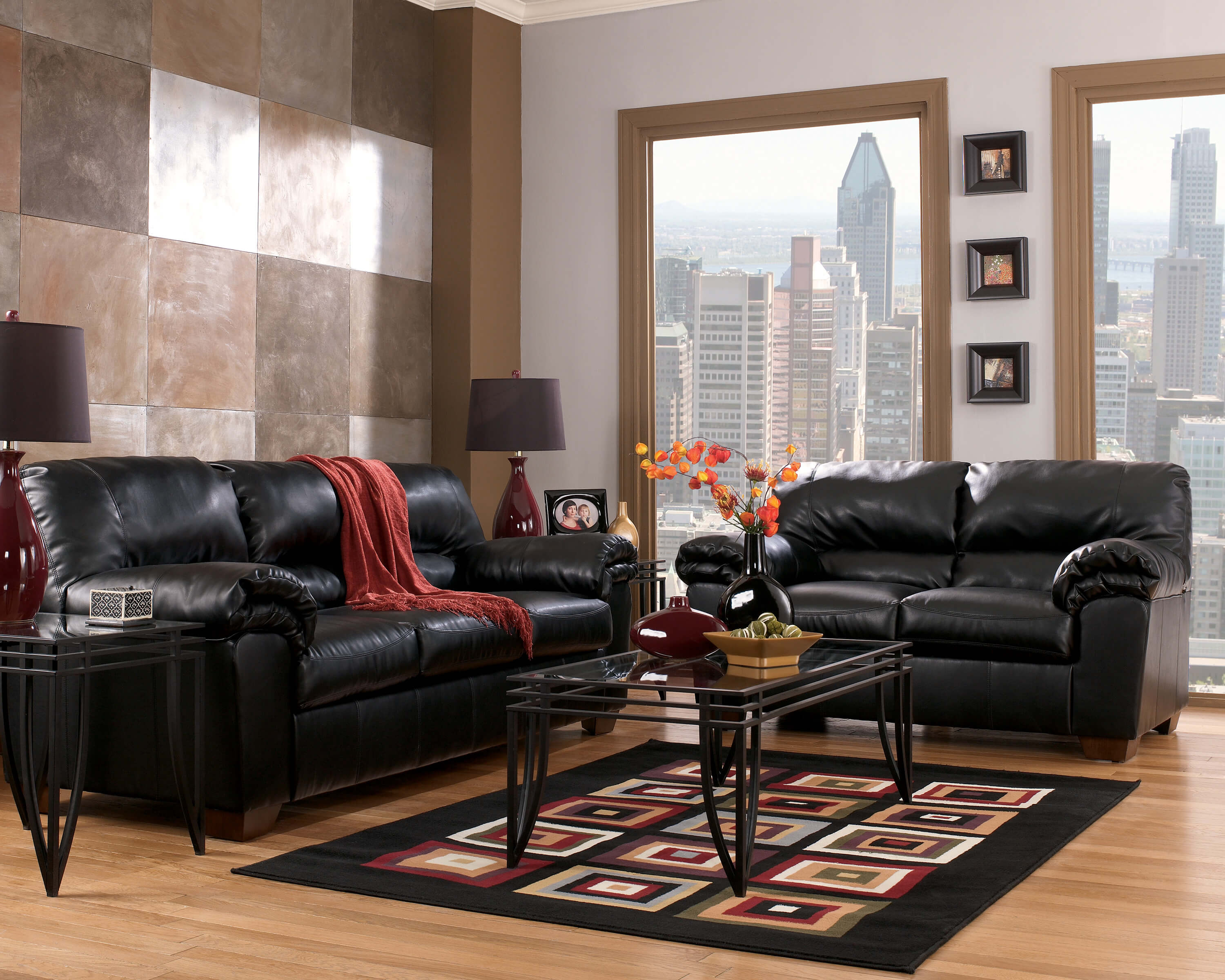 ashley leather living room furniture commando black sofa and loveseat 22012