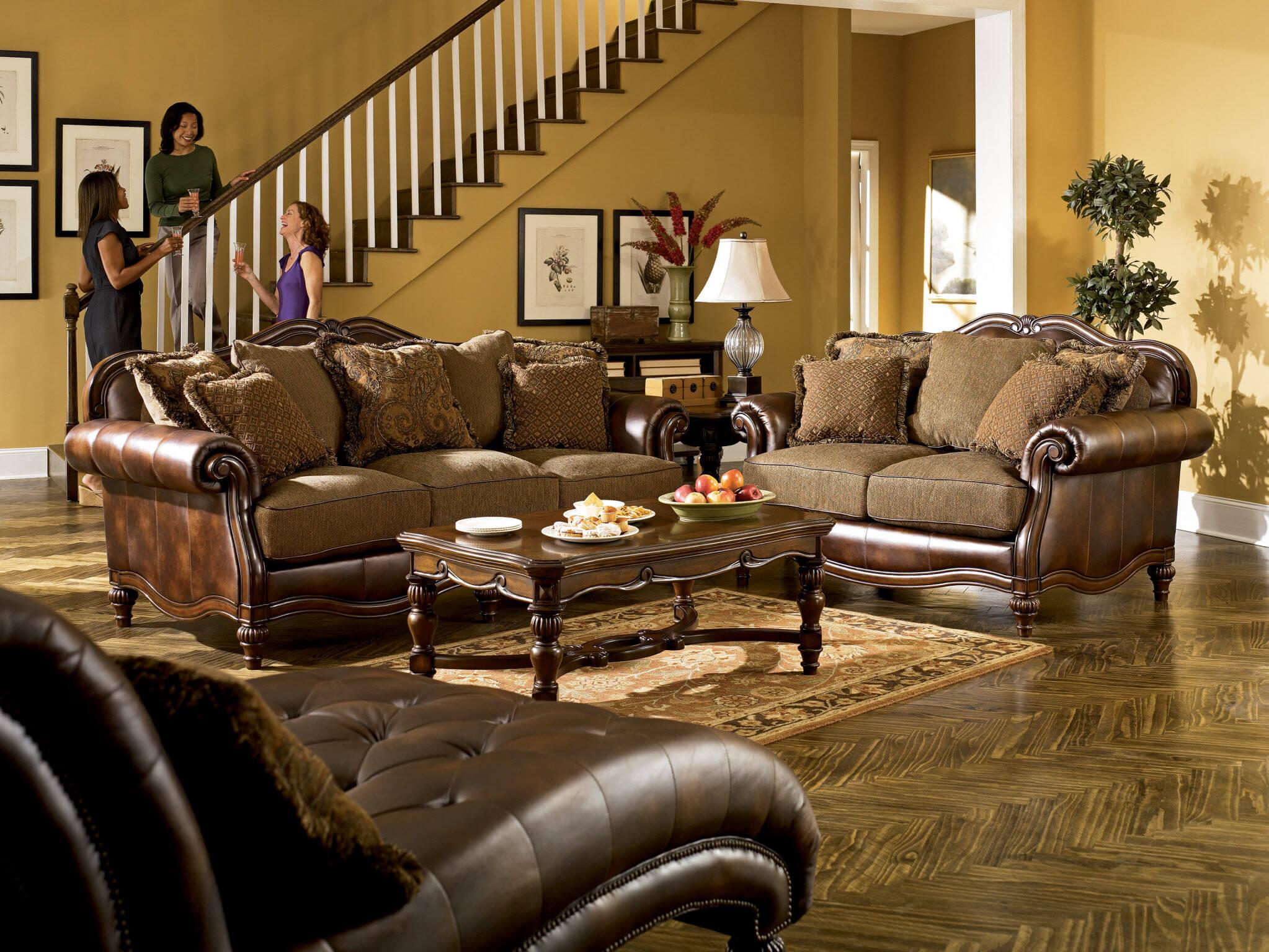 Ashley Claremore Antique Sofa And Loveseat