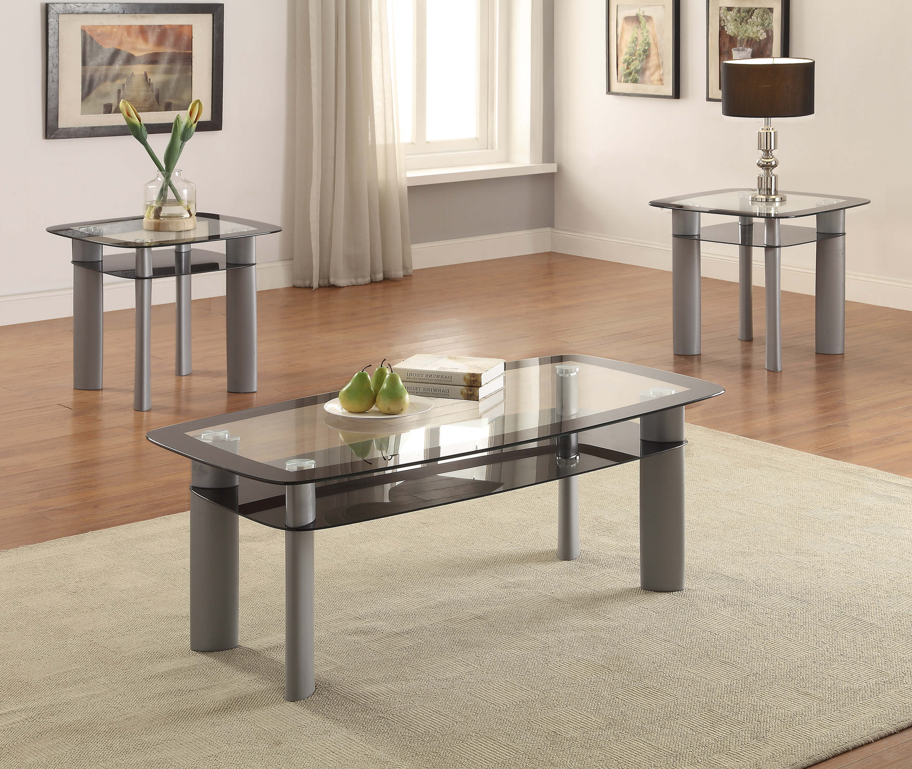 30 Live Edge Coffee Tables That Transform The Living Room: Metro Black Edge 3 Piece Coffee And End Table Set