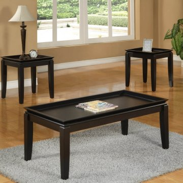 Espresso Tray Coffee and End Table Set by Crown Mark