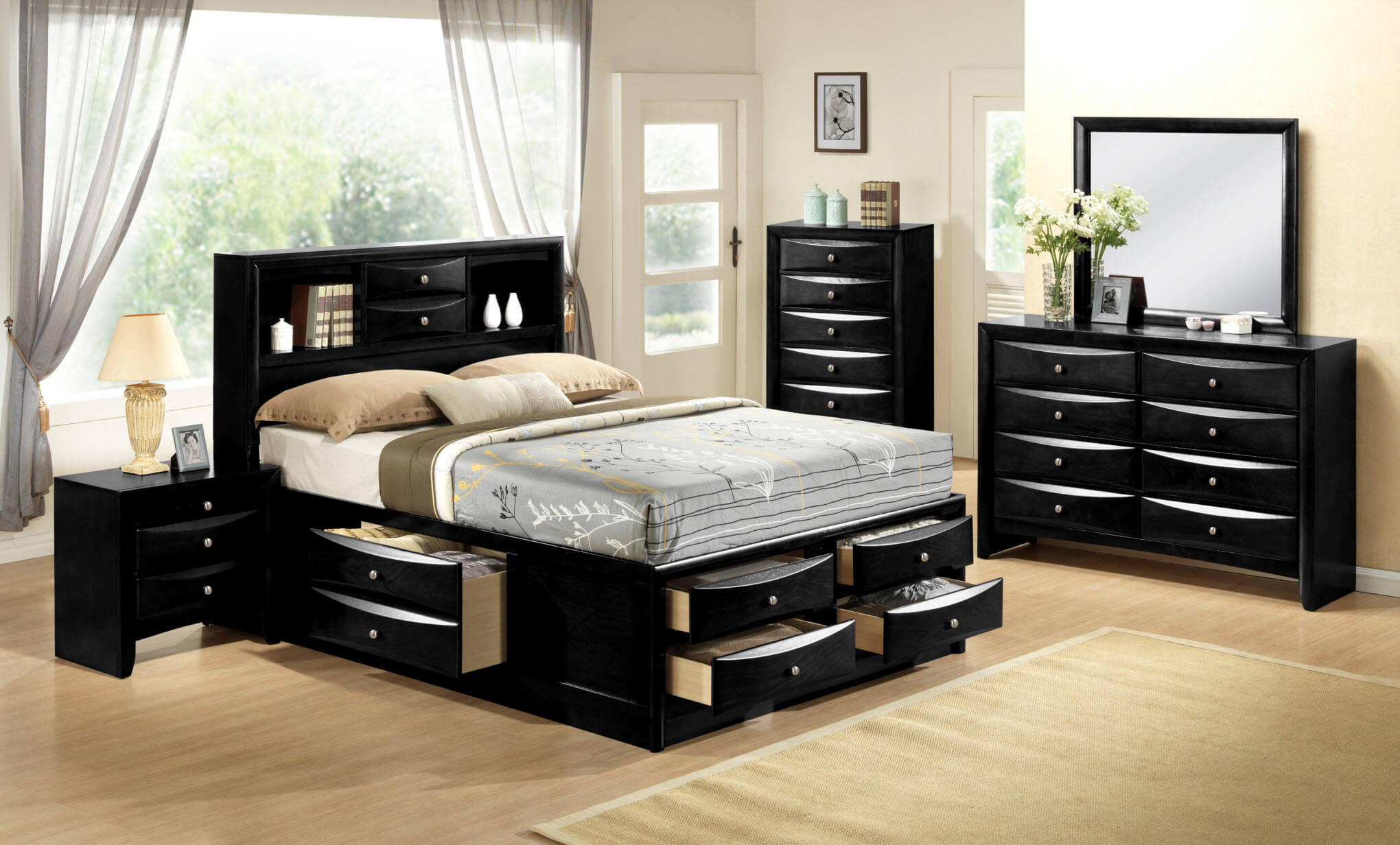 Emily Black Storage Bedroom Set
