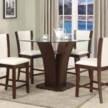 1710 Crown Mark Cameilia Counter Height Glass Dining Set White