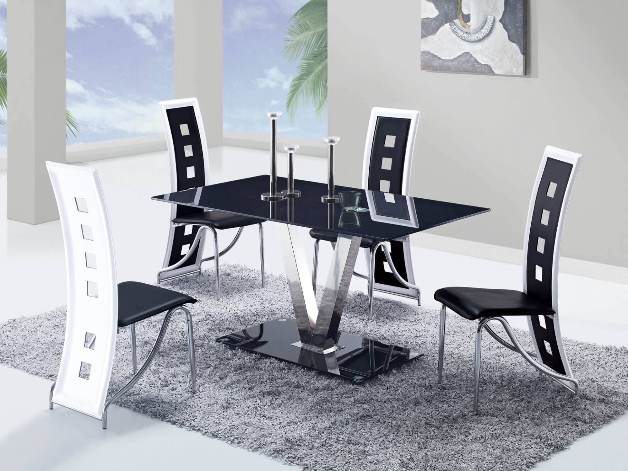 Elegant D551 Global Furniture White U0026 Black Glass Top Dining Set