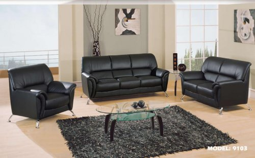 9103 Global Modern Black Sofa and Loveseat