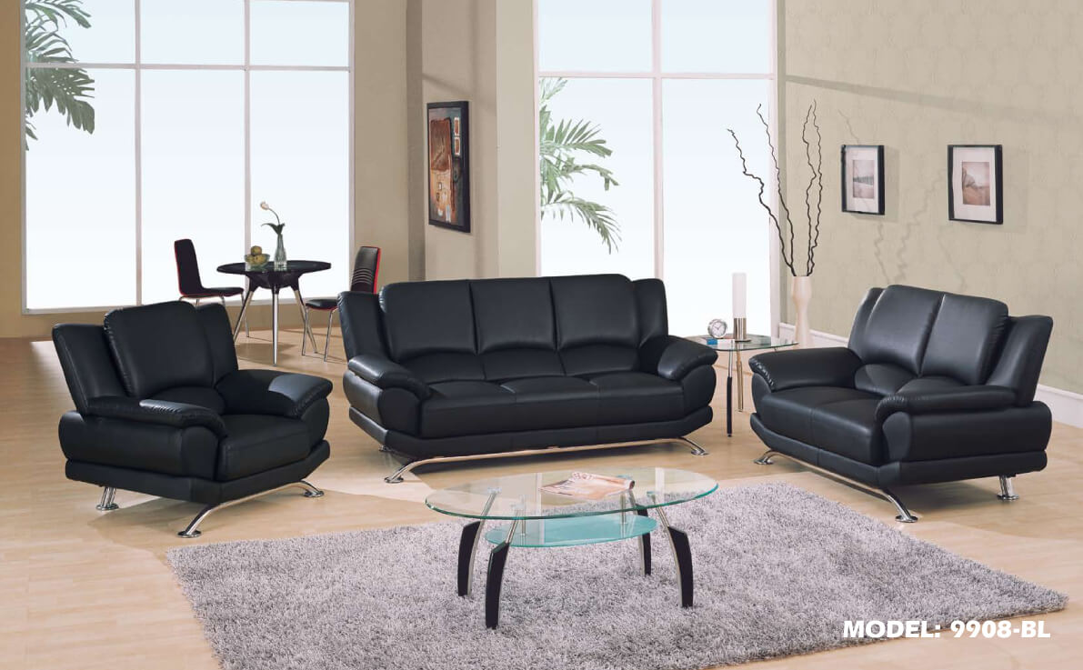 Contemporary Living Room Set In Black Red Or Cappuccino: Chic Black Sofa And Loveseat