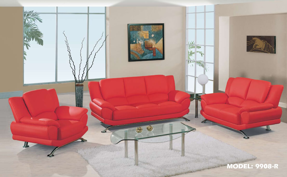 Global Chic Red Sofa And Loveseat Leather Living Room Sets