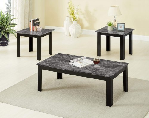 3 Piece Black Faux Marble Coffee and End Table Set by Global Trading