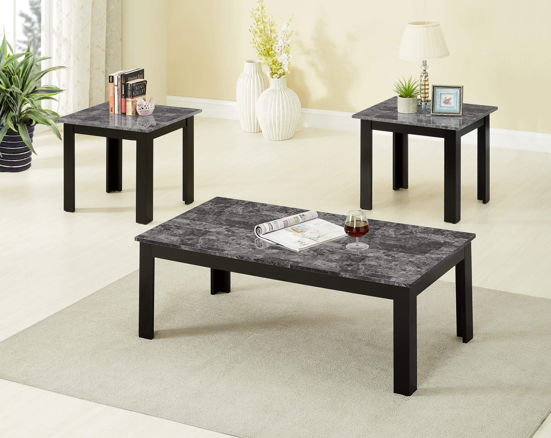 3 Piece Black Faux Marble Coffee And End Table Set