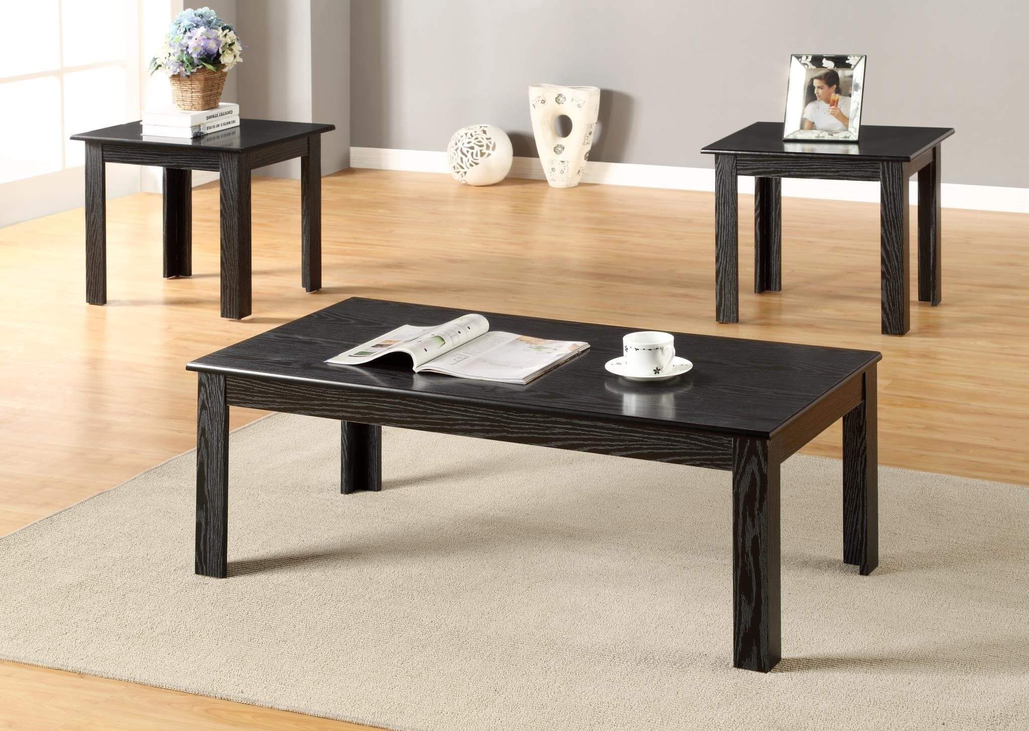 3 Piece Black Coffee And End Table Set Occasional Tables