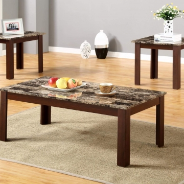 3 Piece Faux Marble Coffee and End Table Set by Global Trading