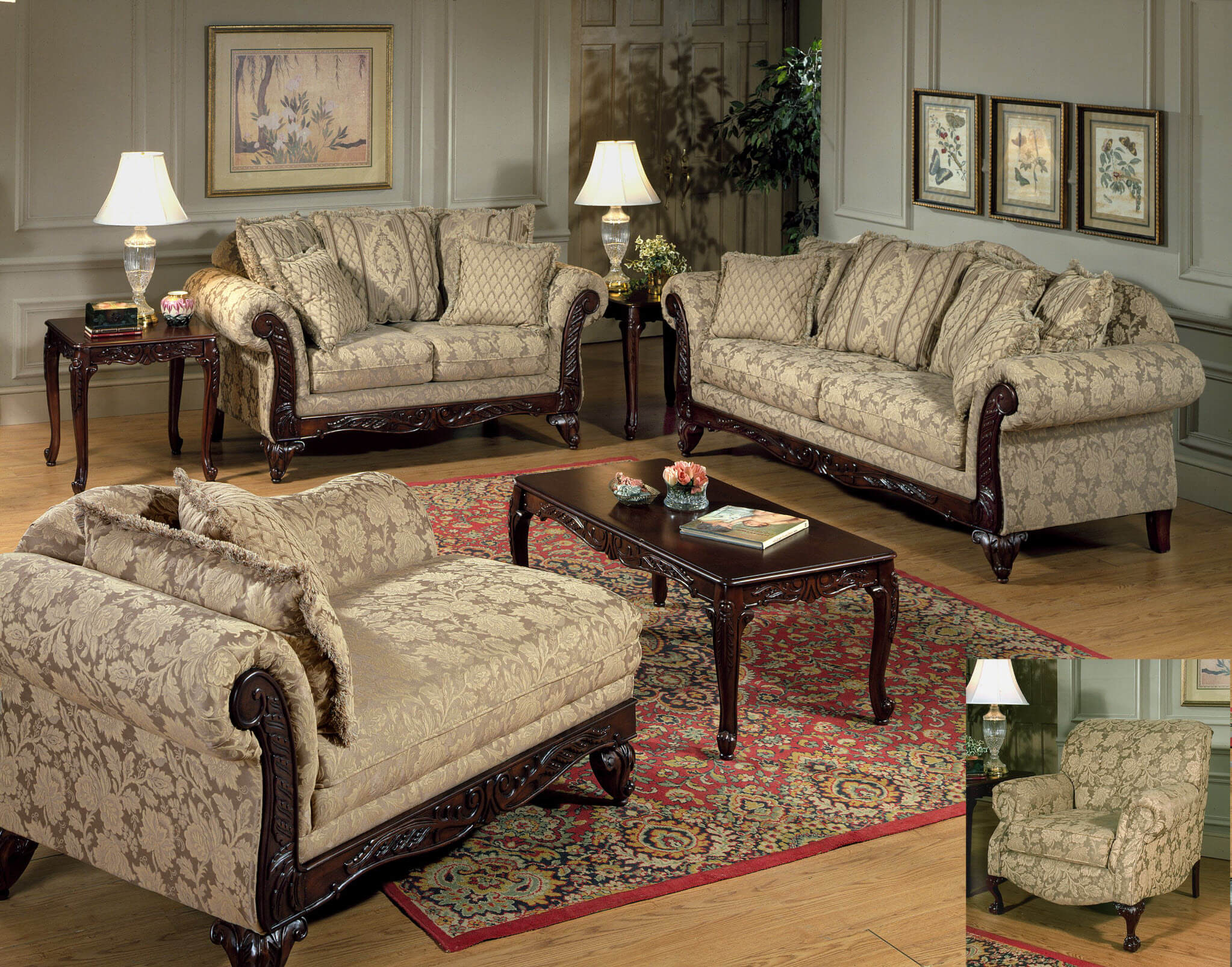 Clarissa Carmel Sofa And Loveseat Fabric Living Room Sets
