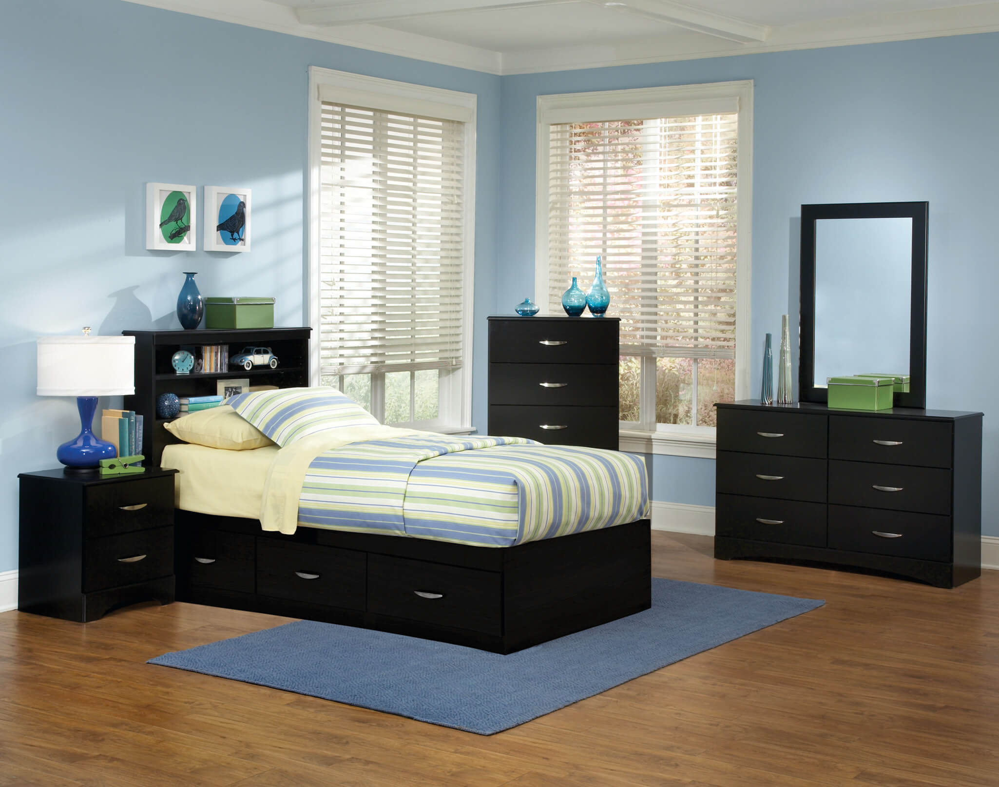Jacob Twin Black Storage Bedroom Set
