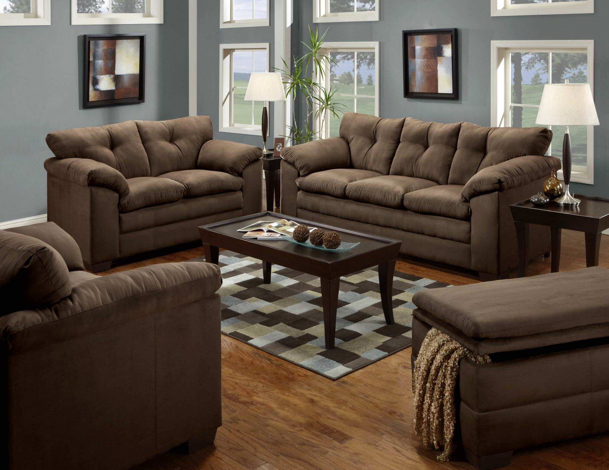 9300 Bulldozer Chocolate Sofa and Loveseat
