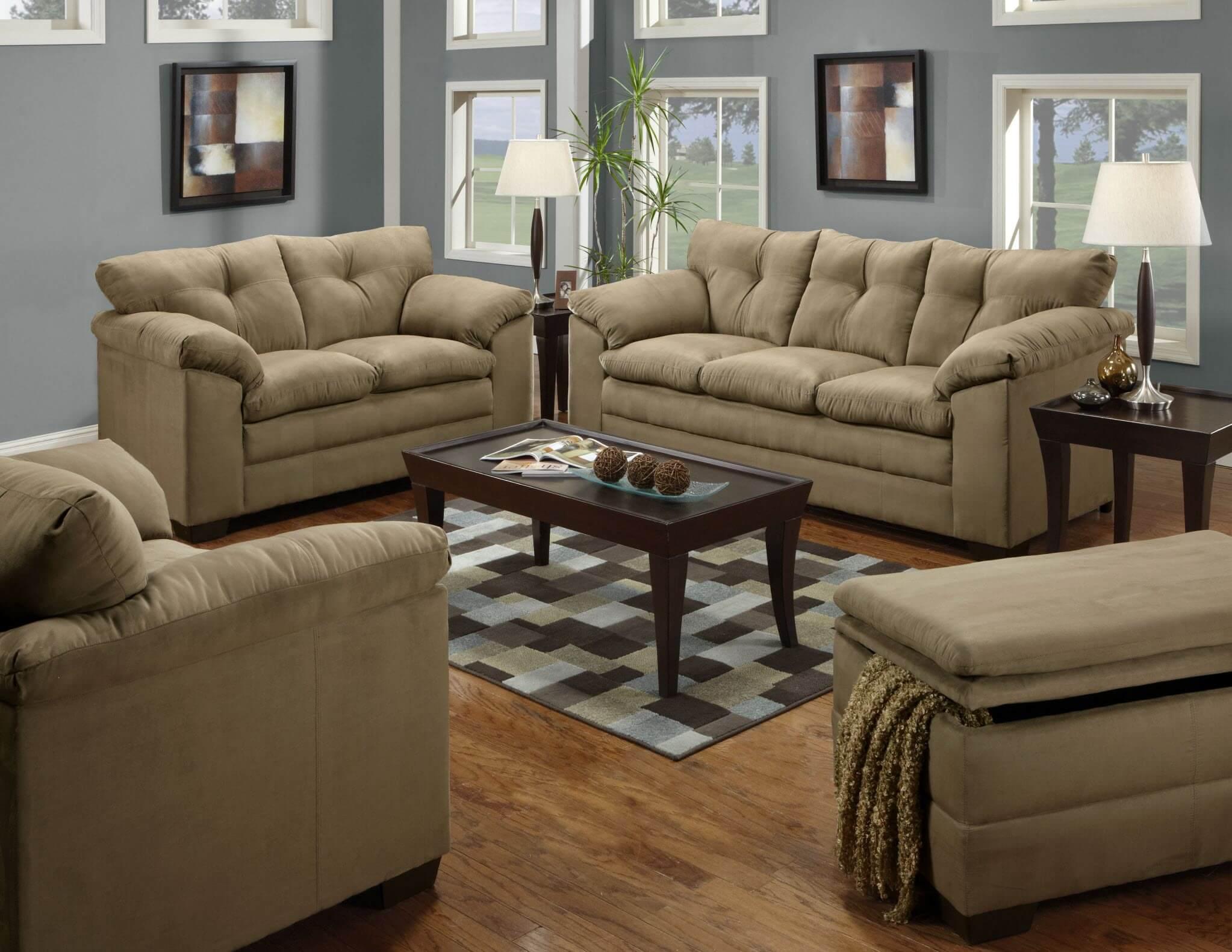 Luna Latte Sofa And Loveseat Fabric Living Room Sets