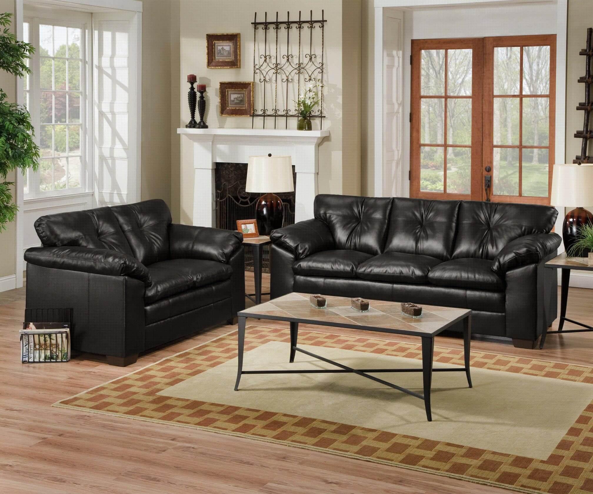 bravo black sofa and loveseat  fabric living room sets