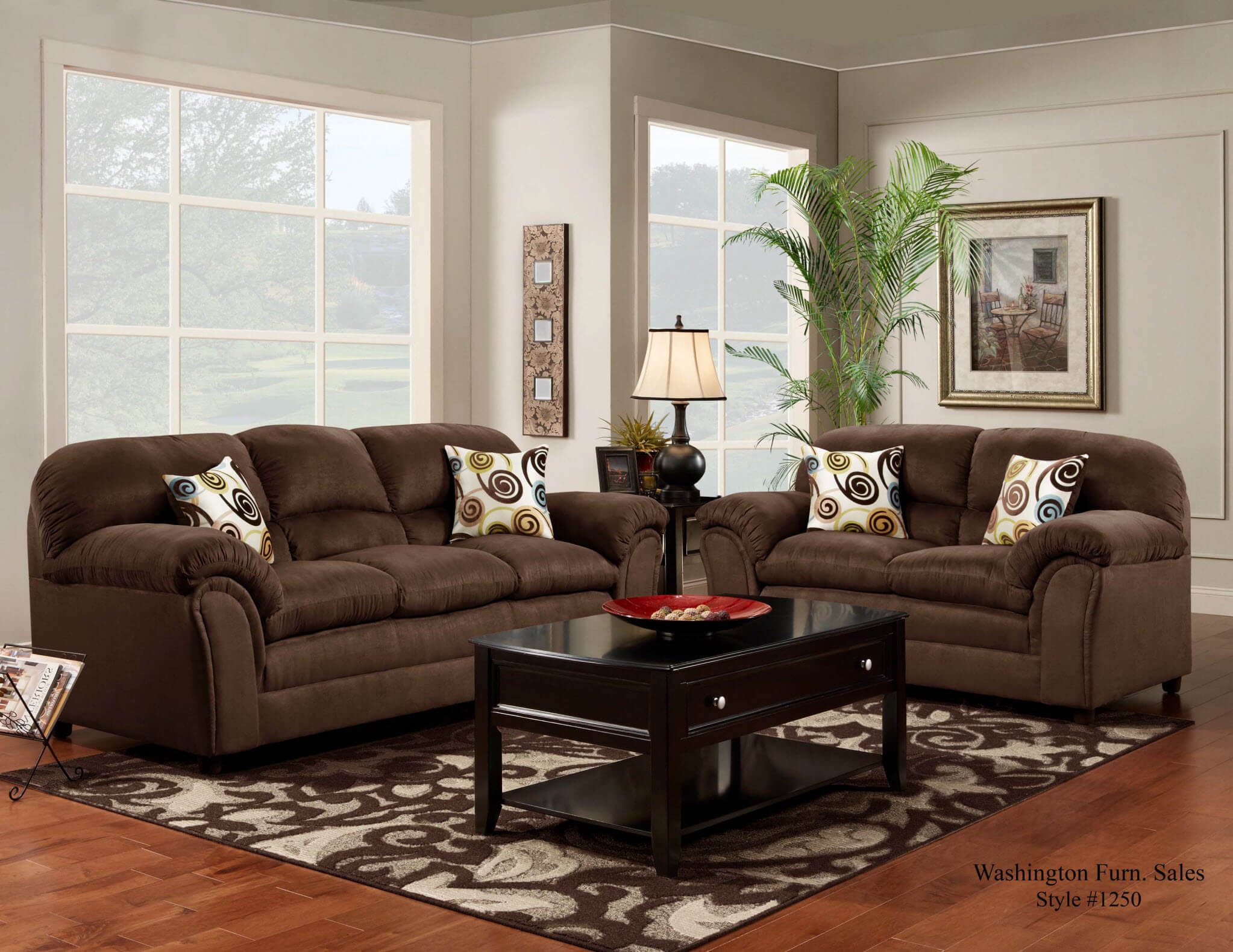 Flat Suede Chocolate Sofa And Loveseat | Living Room Sets