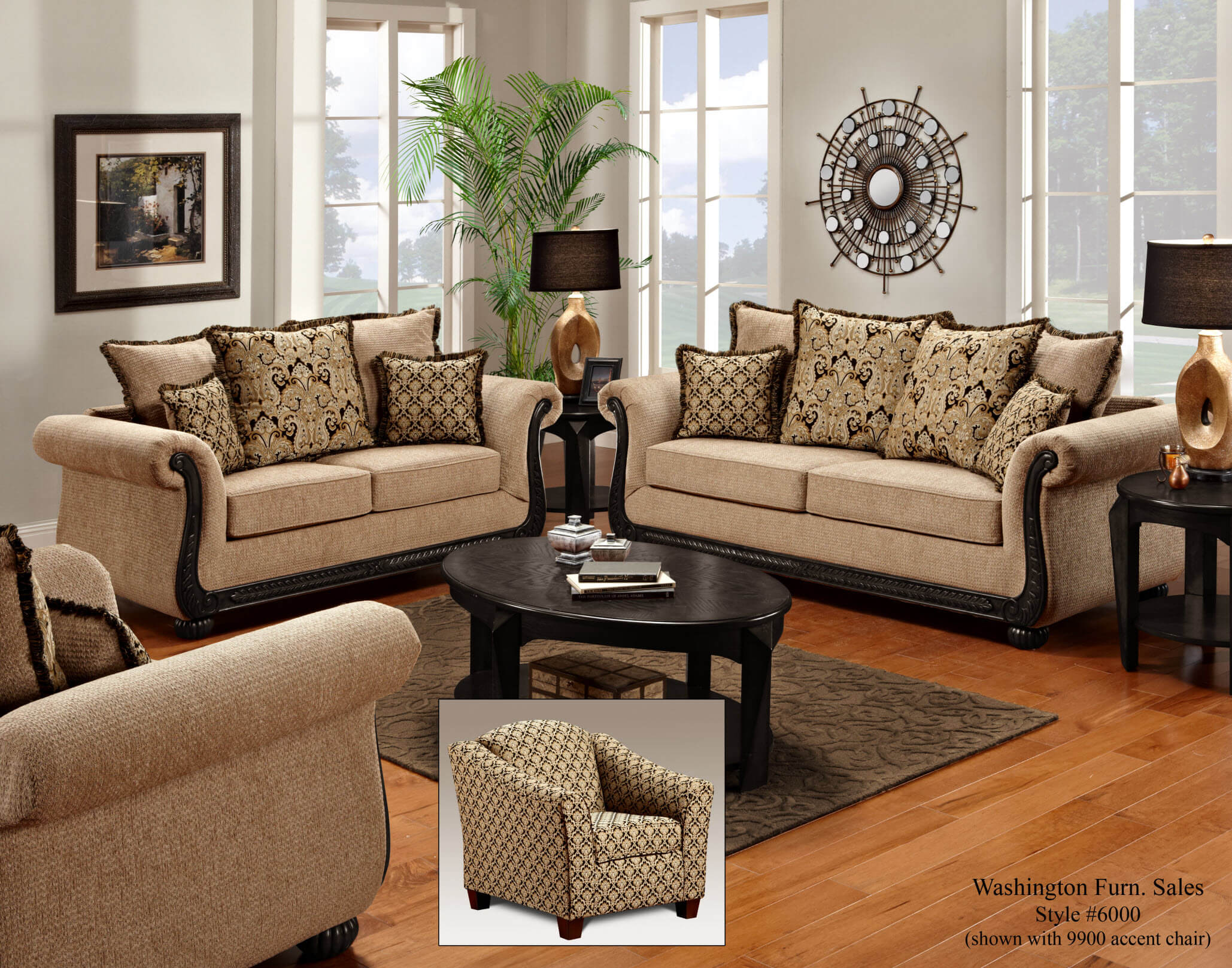 Delray Taupe Black Sofa And Loveseat Living Room Sets