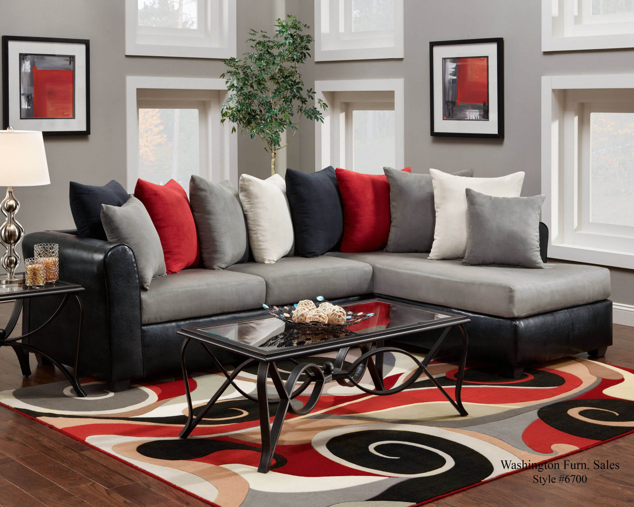 Victory Lane DolphinTrapper Black Sectional Sectional Sofas