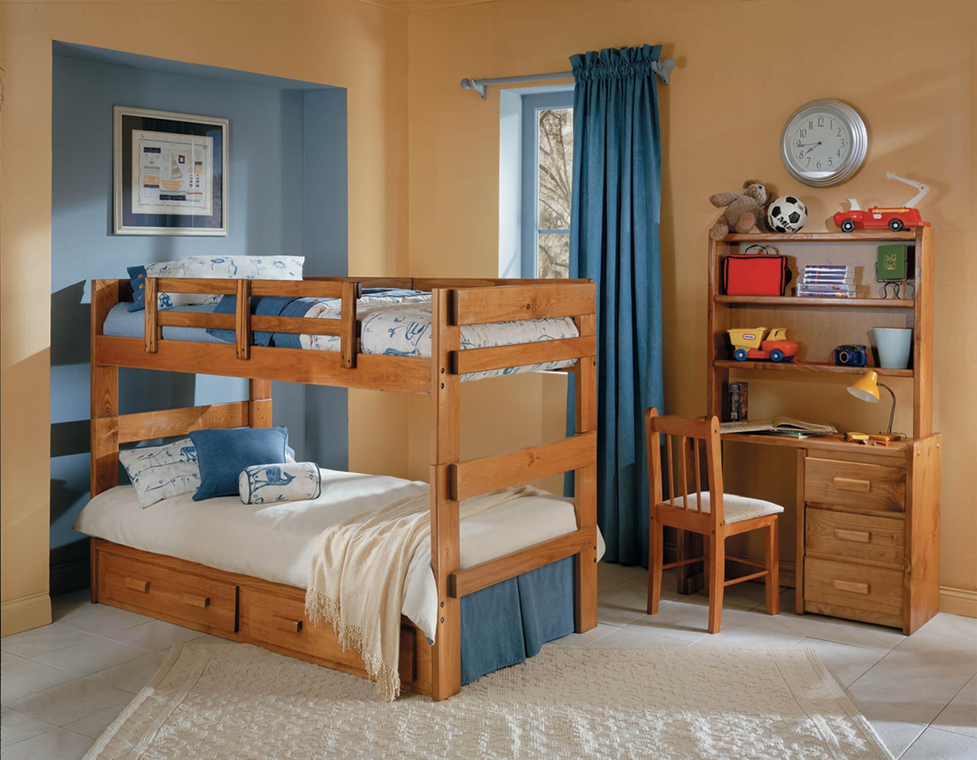 Woodcrest Solid Pine Bunk Bed Kids Bunk Beds