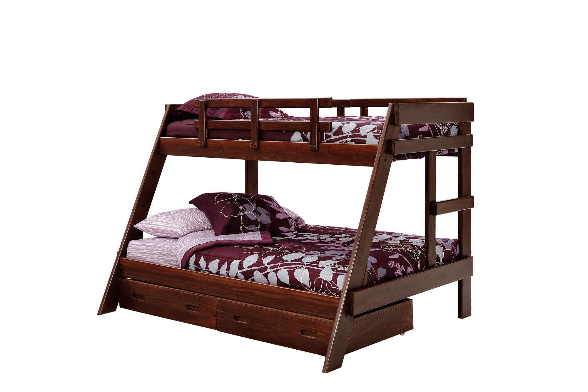 woodcrest rustic brown twin/full bunk bed | kids' bunk beds