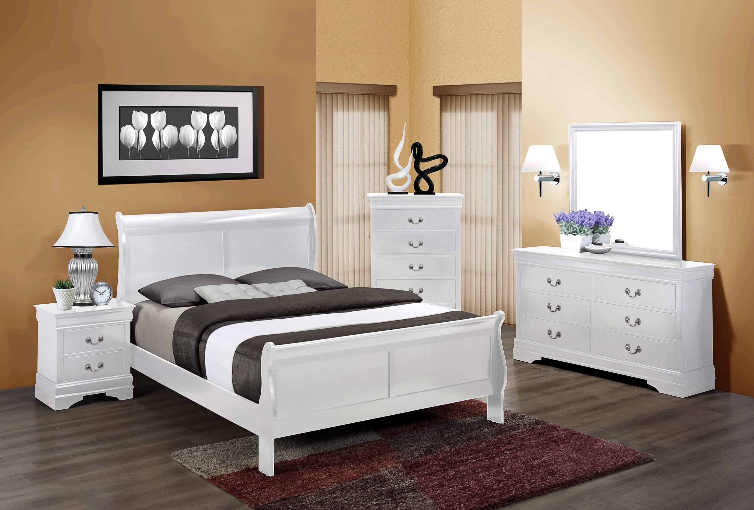 White Louis Philip Bedroom Set