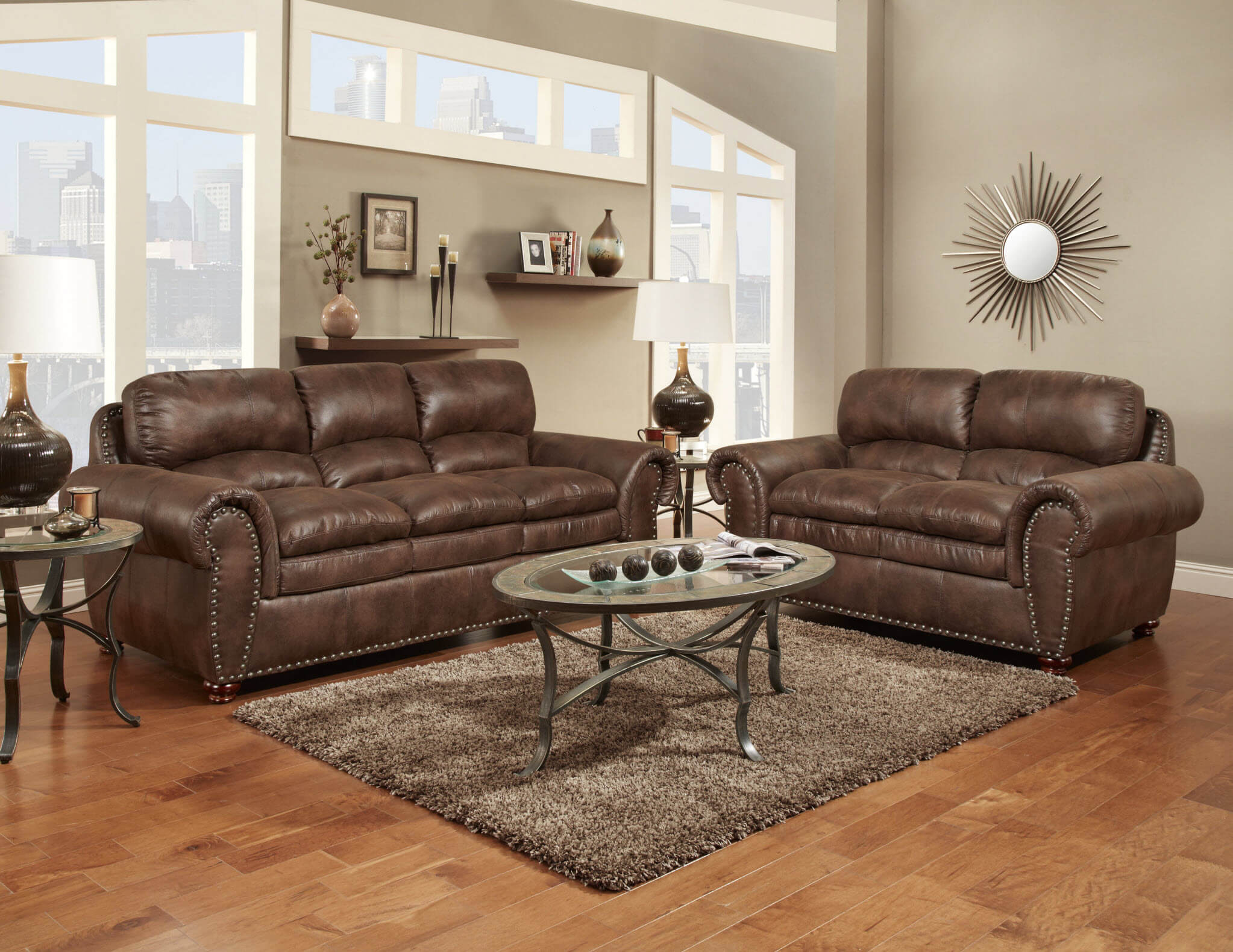 Padre Espresso Sofa and Loveseat | Fabric Living Room Sets