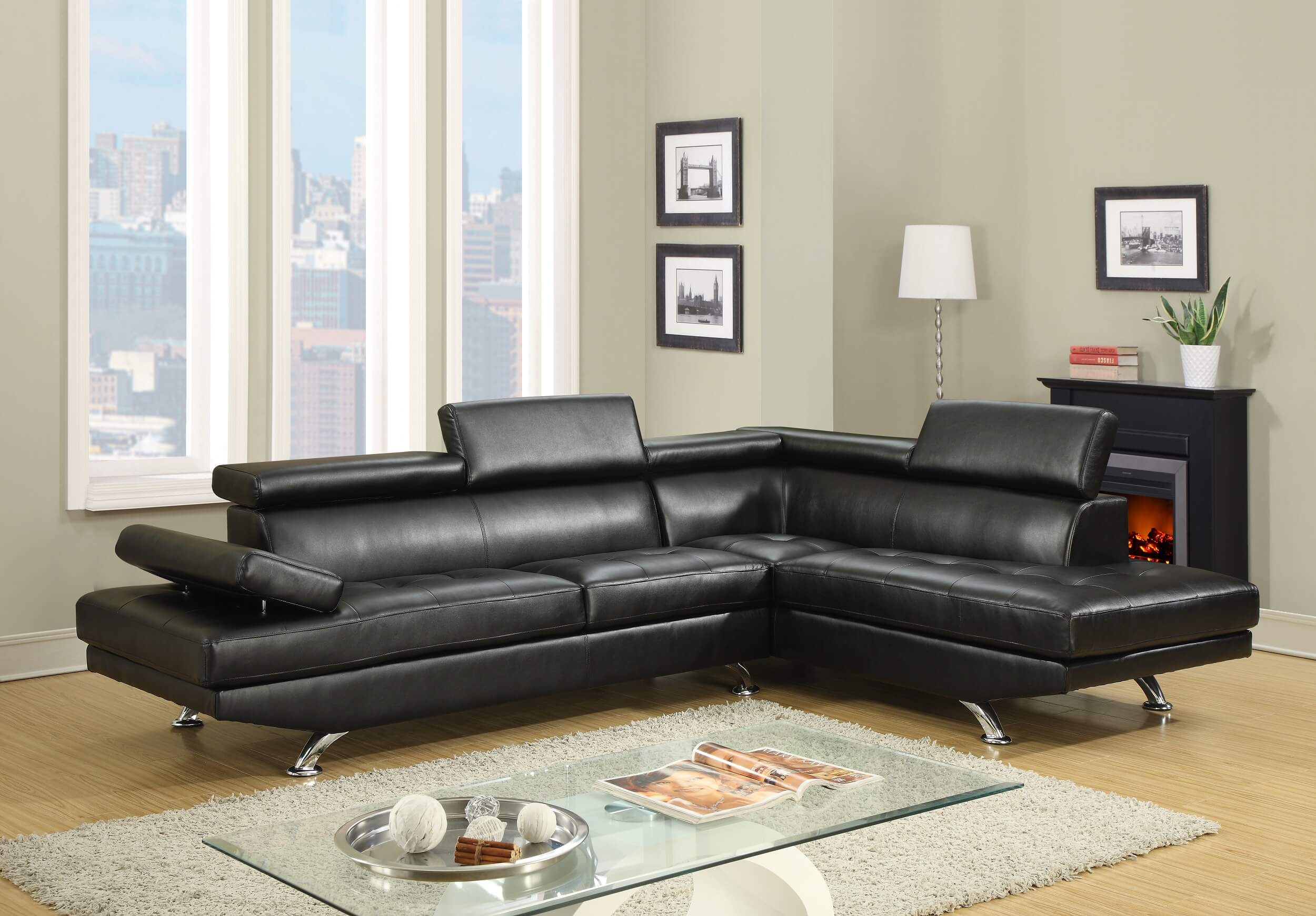 Black Modern Sectional Sectional Sofa Sets