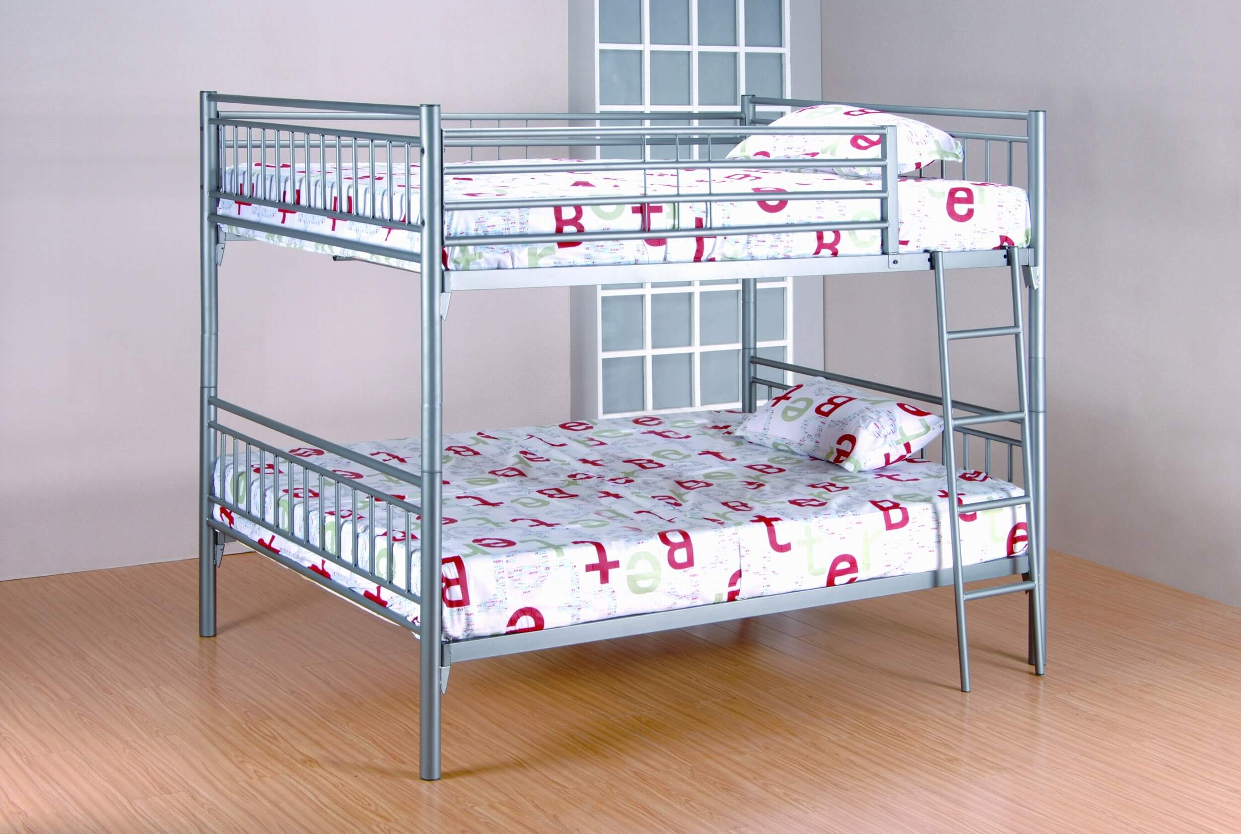 Grey Full over Full Metal Bunk Bed