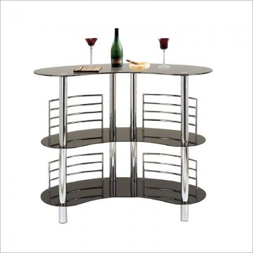 12911 Home Source Black And Chrome Bar Unit