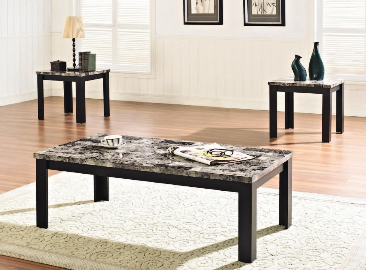 Black Faux Marble Coffee And End Table Set Occasional Tables