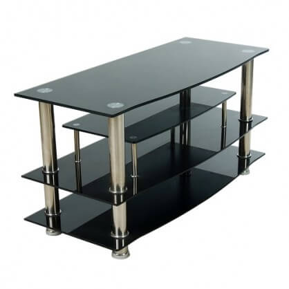 Home Source Black Chrome Tv Stand Entertainment Furniture