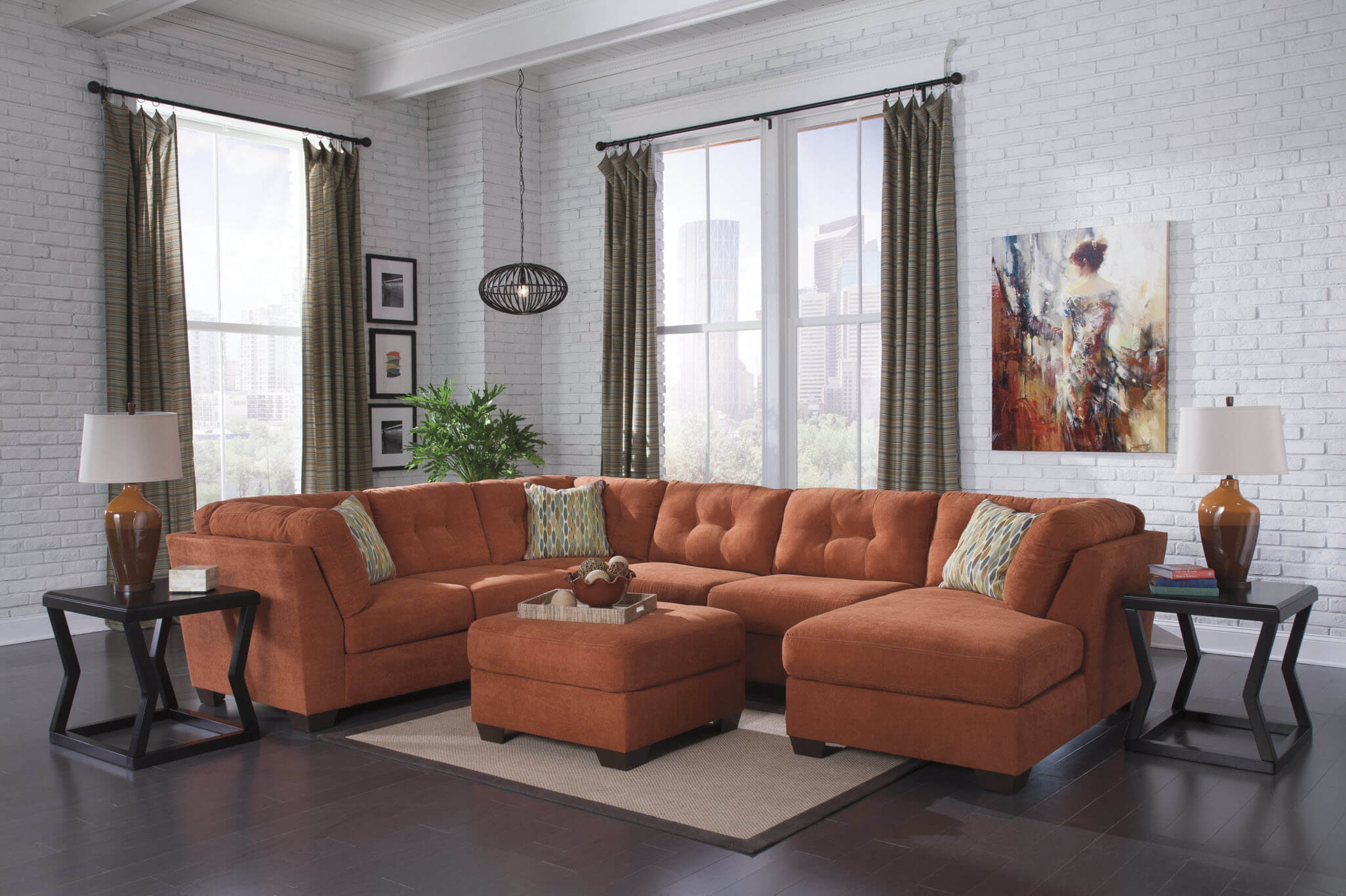 Delta City Rust Sectional Sofa Sets