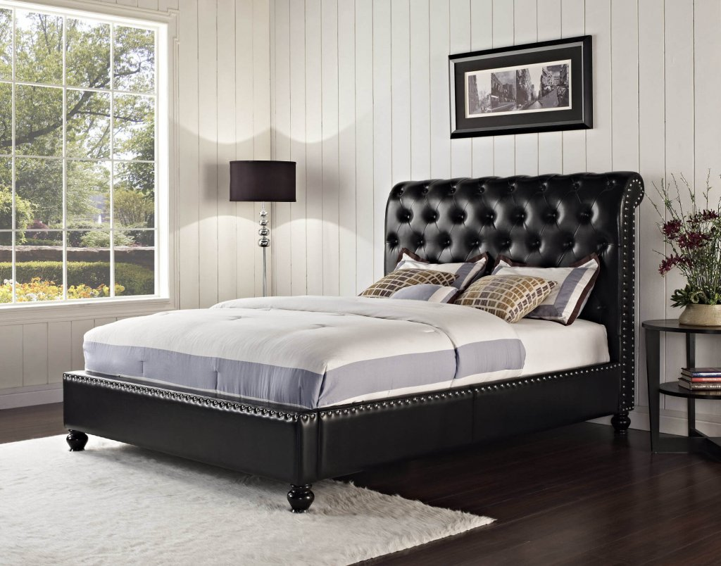 Standard Black Stanton Tufted Bed Beds