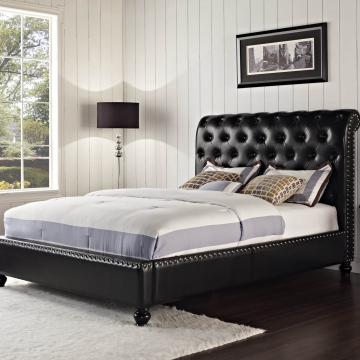Standard Black Stanton Tufted Bed