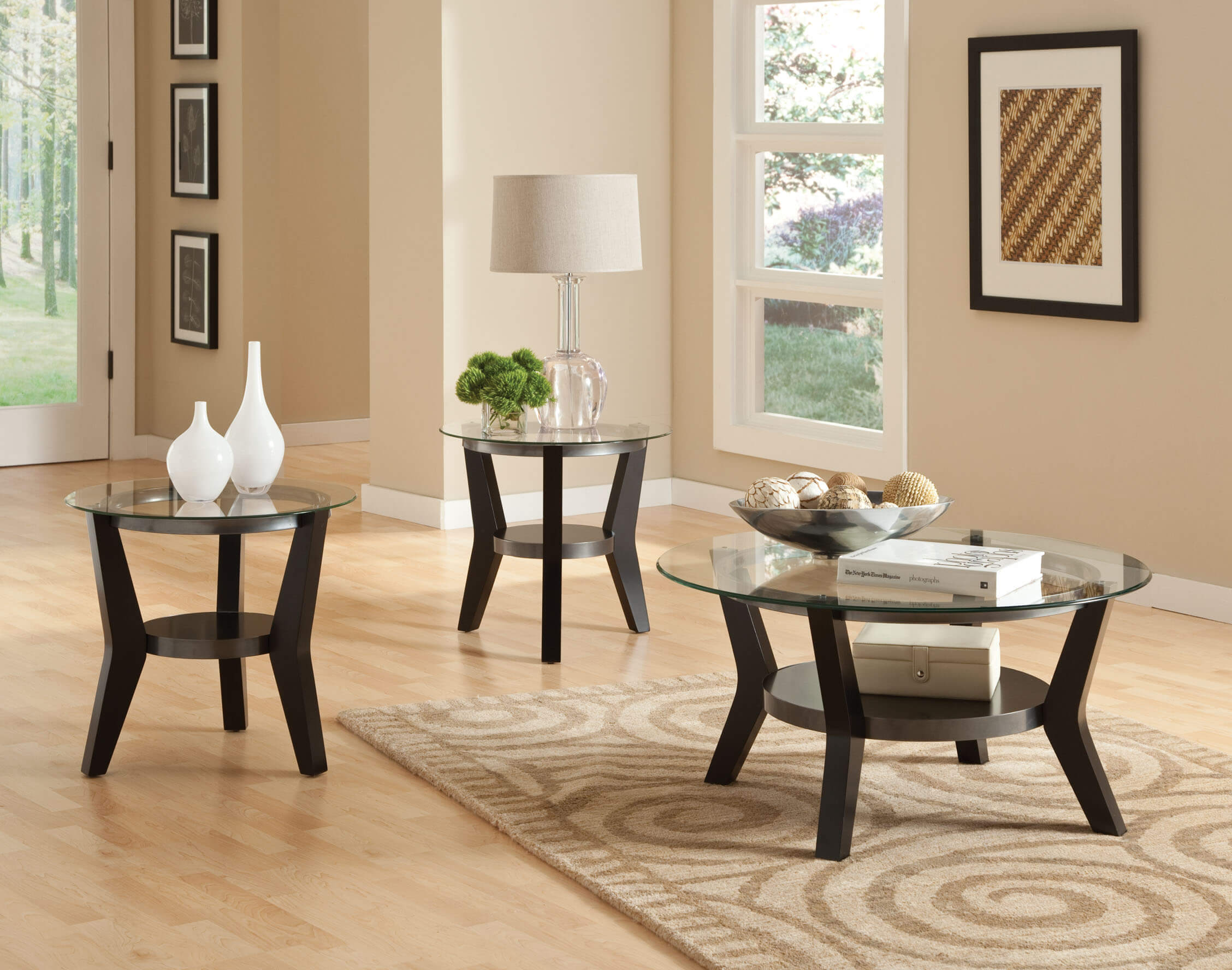 Orbit Black Glass Round Coffee and End Table Set