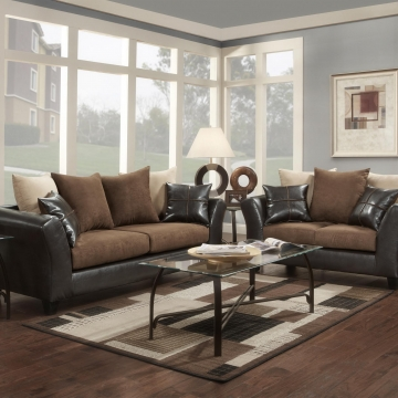 Flatsuede Chocolate Sofa and Loveseat