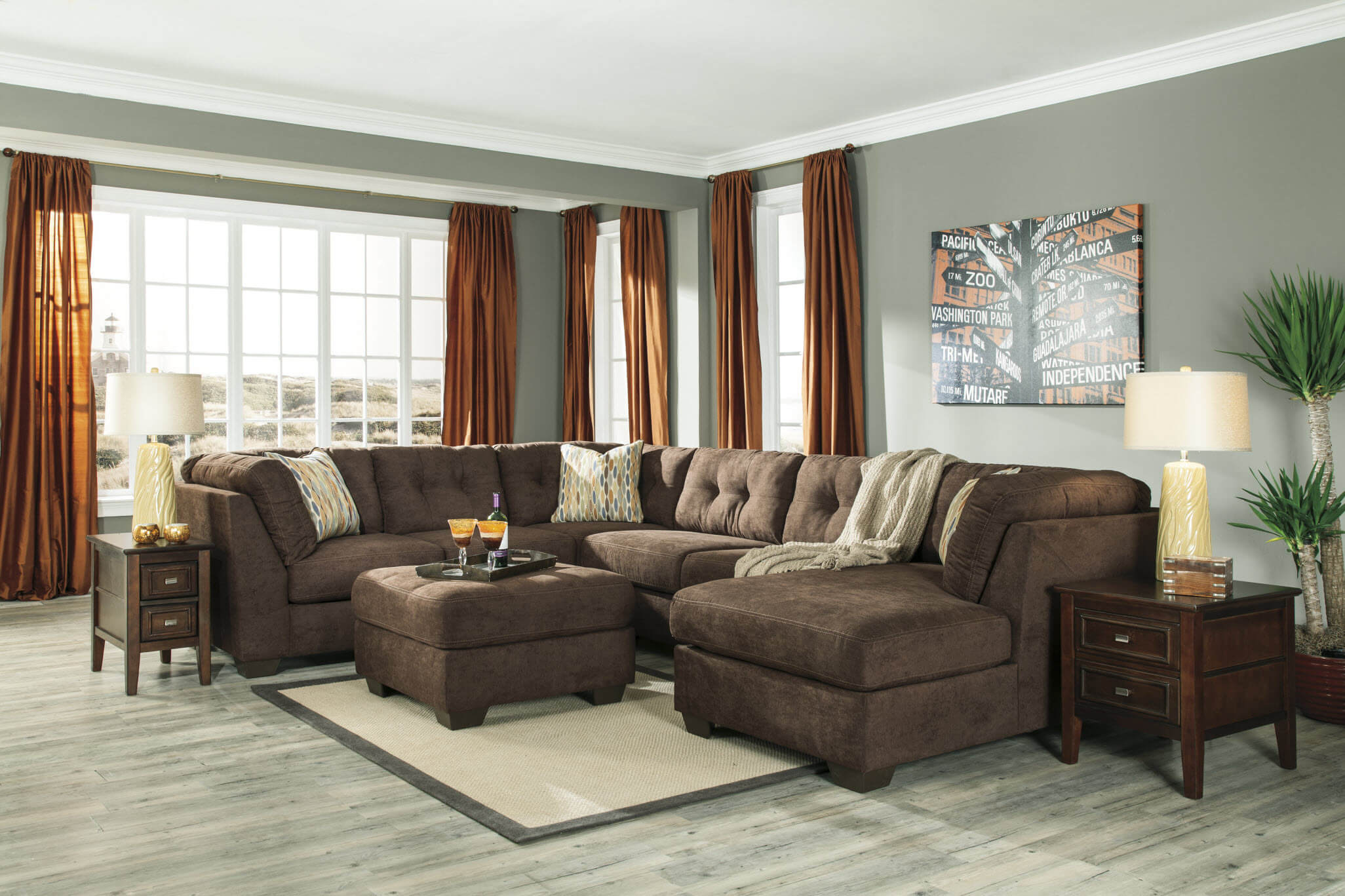 Delta City Chocolate Sectional