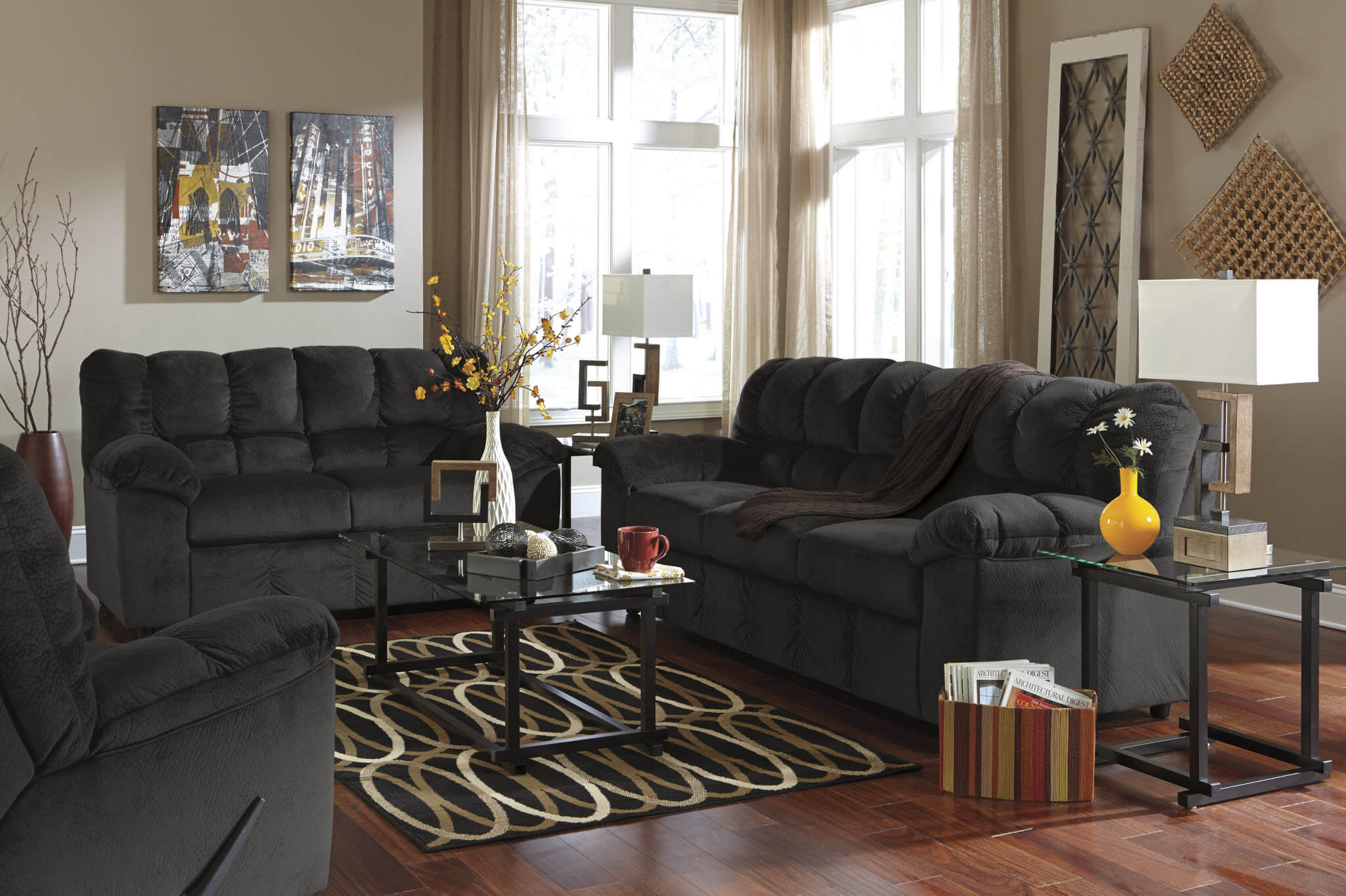 Julson Ebony Sofa And Loveseat Fabric Living Room Sets