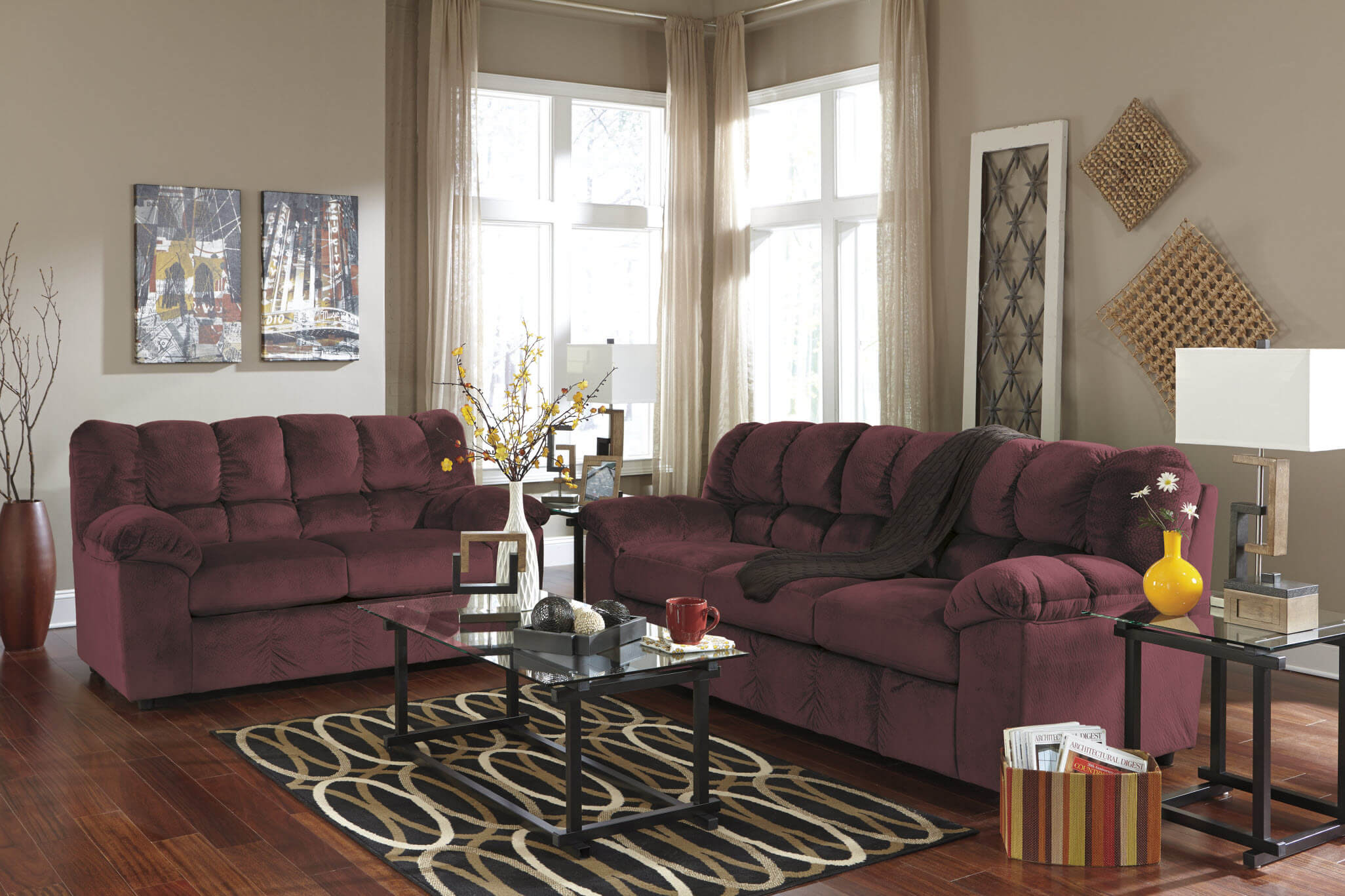Julson Burgundy Sofa And Loveseat Fabric Living Room Sets