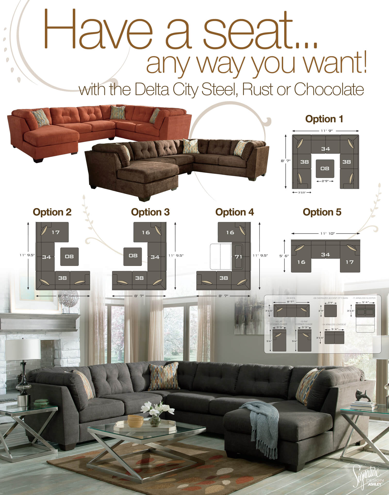 Delta City Rust Sectional Sectional Sofa Sets