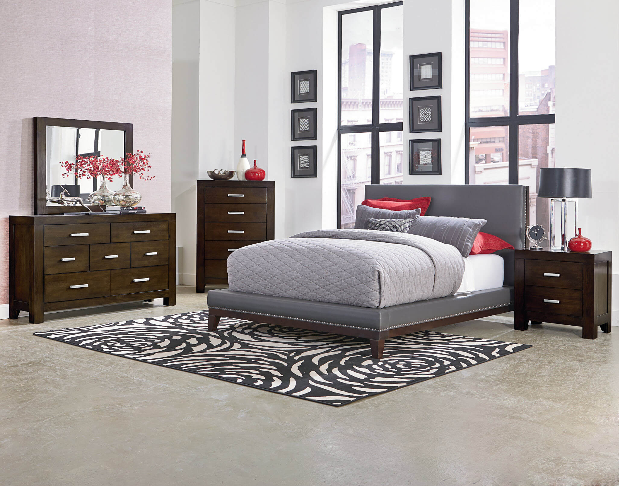 Couture Platform Bedroom Set Bedroom Furniture Sets - Grey bedroom with brown furniture
