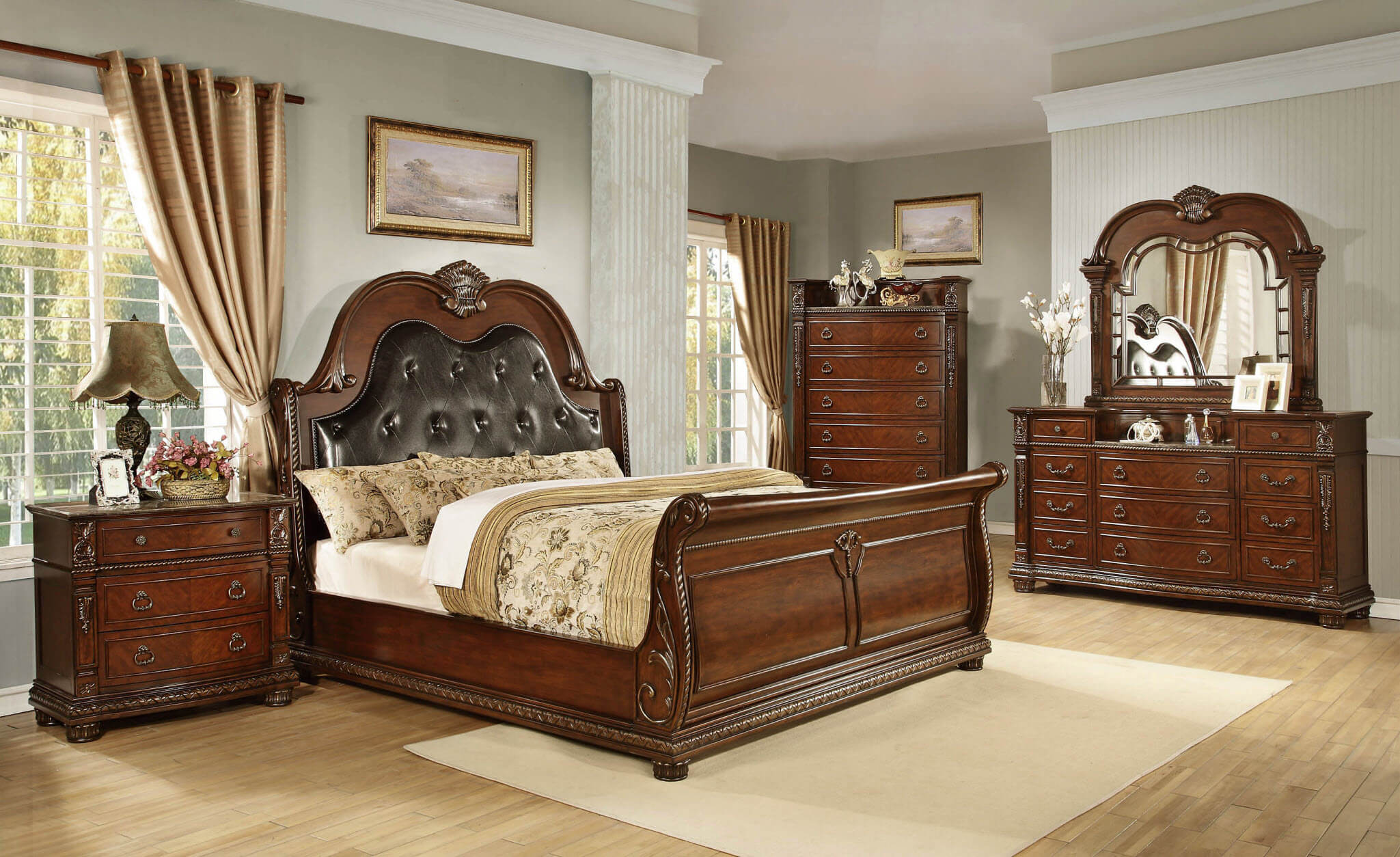 panel wood sets mahogany set with calista bedroom ebony frame designs pilaster rustic collections room bed dark solid configurable