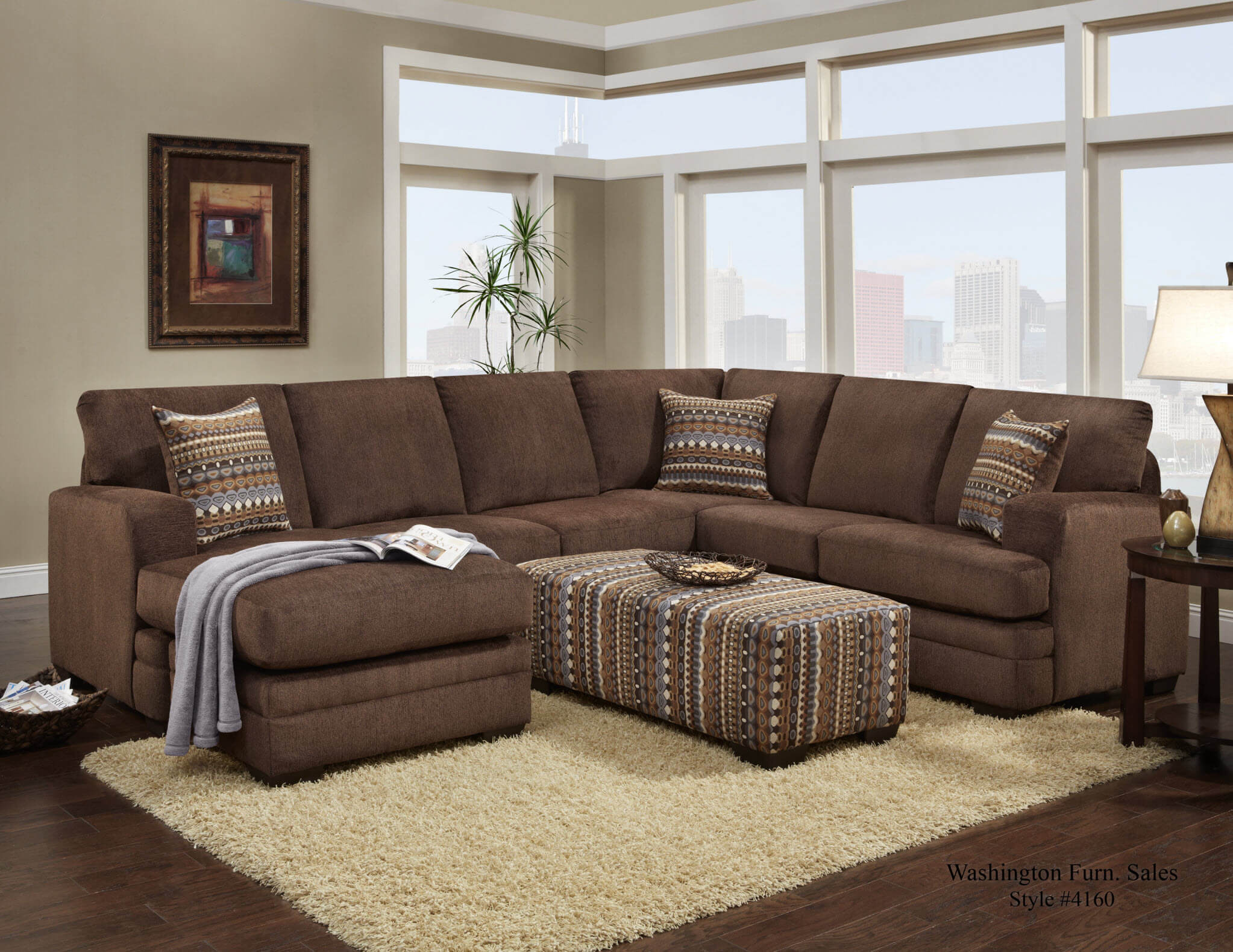 Hillel Chocolate Sectional Sectional Sofa Sets