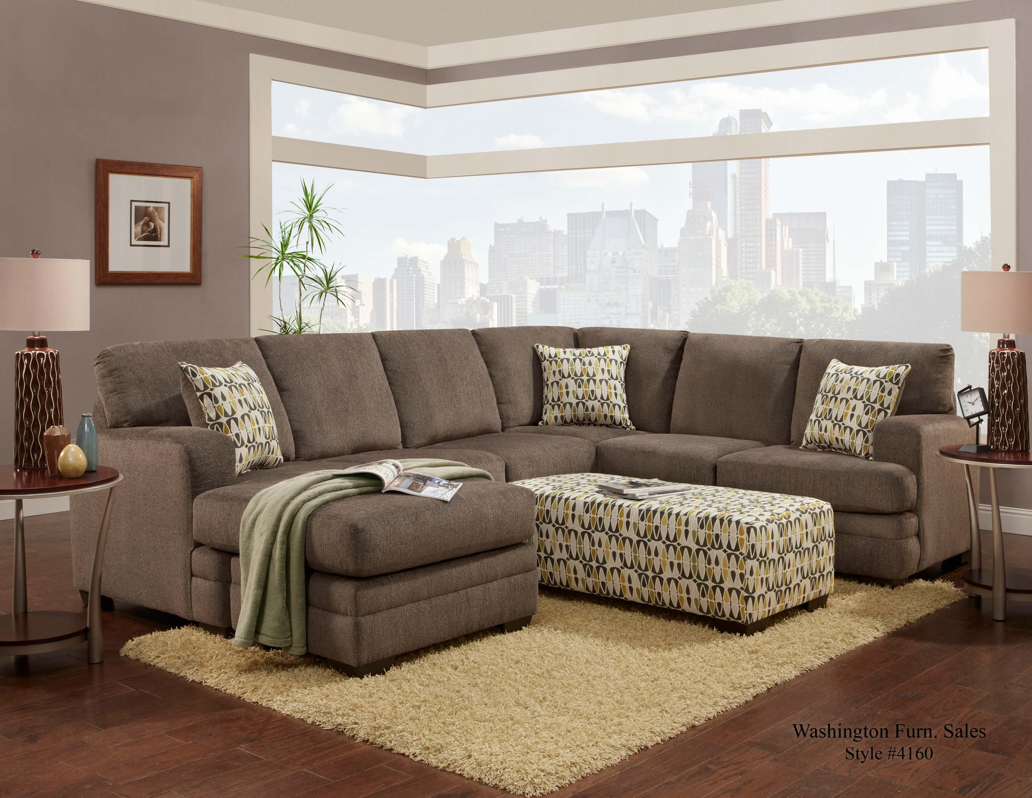 Hillel pewter sectional by washington sectional sofa sets - Cheap living room furniture sets uk ...
