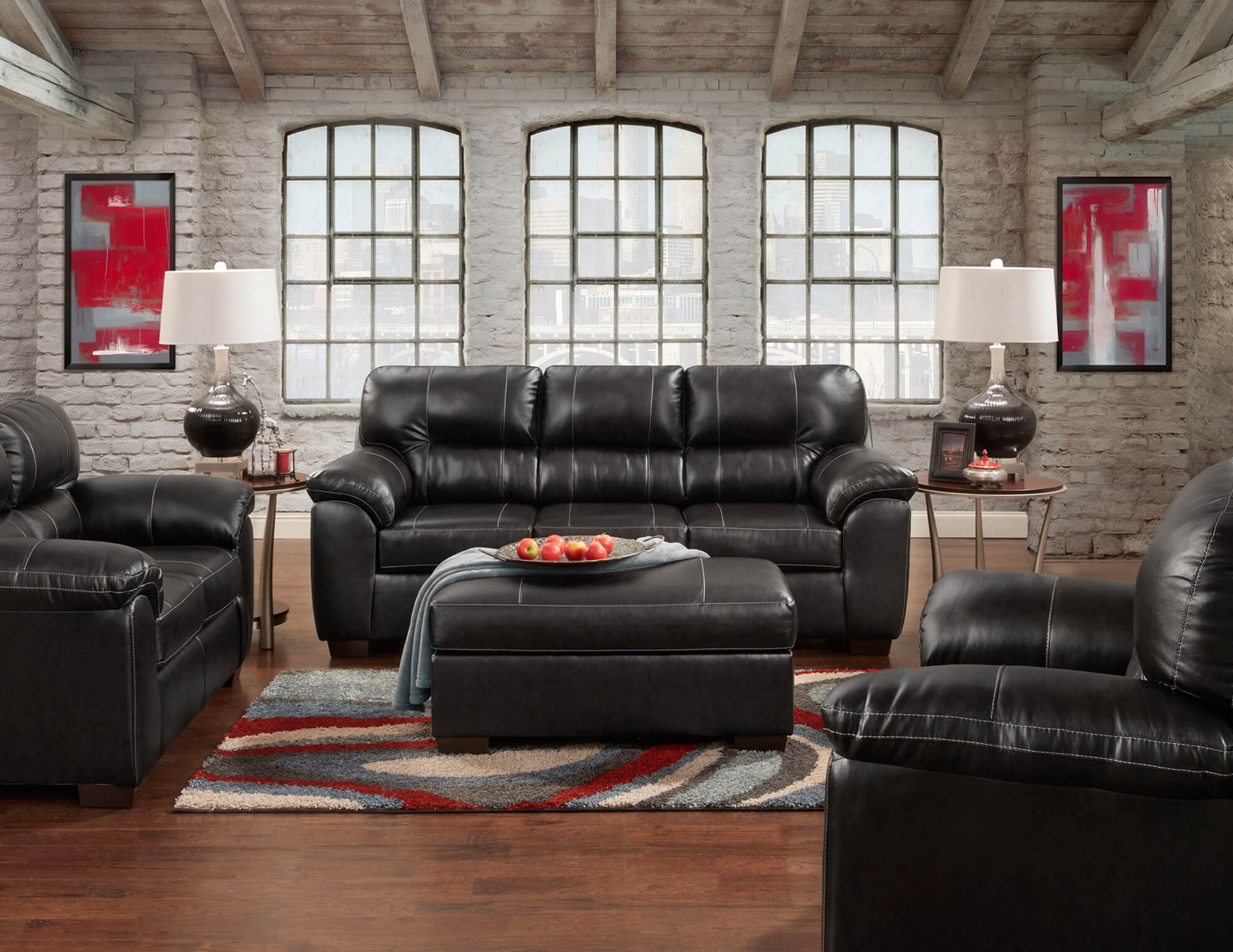 Austin Black Sofa and Loveseat
