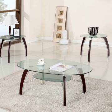 Cappuccino and Chrome Coffee/End Table Set