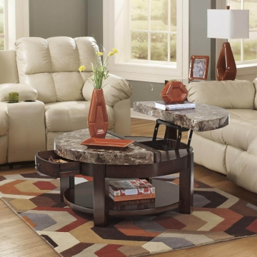 Round Lift Top Coffee Table - Faux Marble