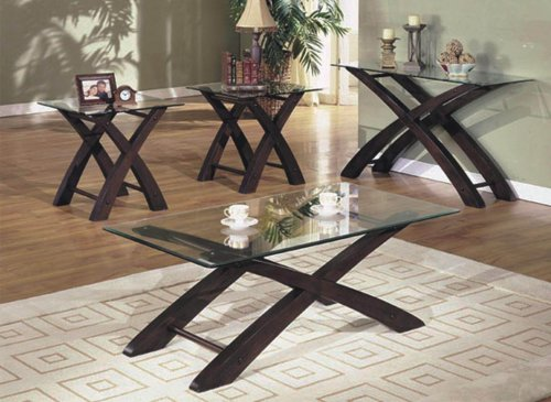 3 pc Cherry and Glass Coffee End Table Set