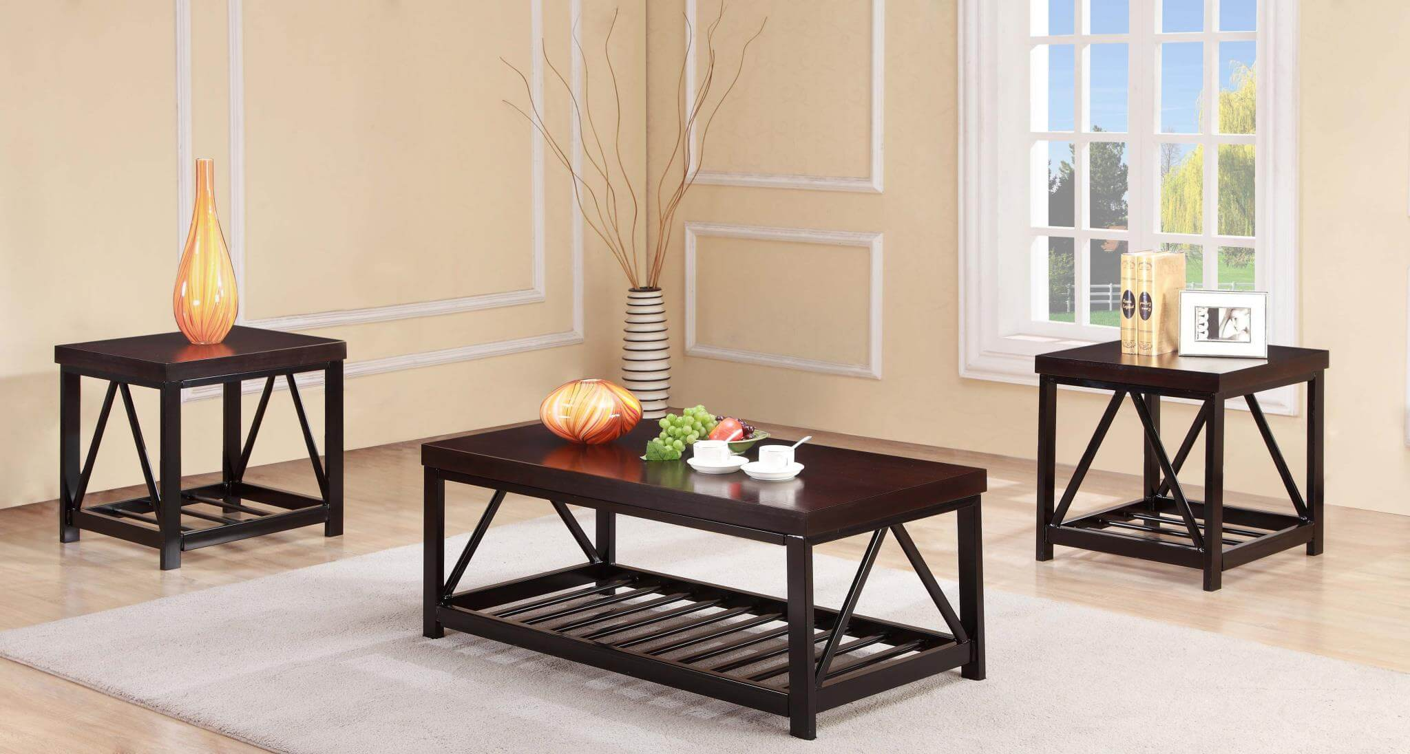 Dark Wood Coffee End Table Set Occasional Tables